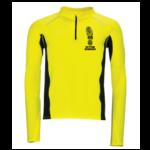 Mens Zip Neck Running Top - neon-yellow - s