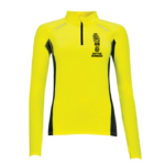 Womens Zip Neck Running Top - neon-yellow - s