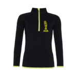 Womens Zip Neck Training Top - jet-black-electric-yellow - xs